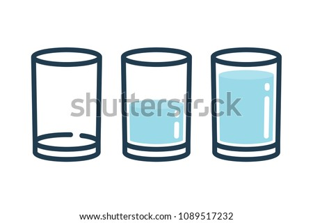 Three type of glassws line icons. Empty, half and full filled glasses illustration on white background.