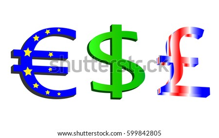 Three types of currency. Euro, dollar, pound isolated on a white background. Colorful money. Flags and main color of states