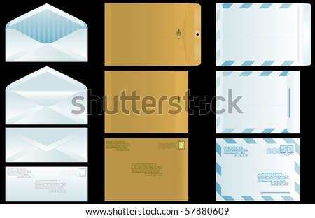 Three types of envelopes front, back, open and closed