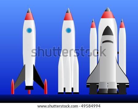 three types of rockets ready to