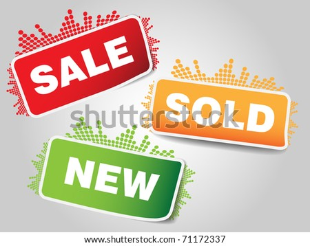 Three types of sale tags with small music bar