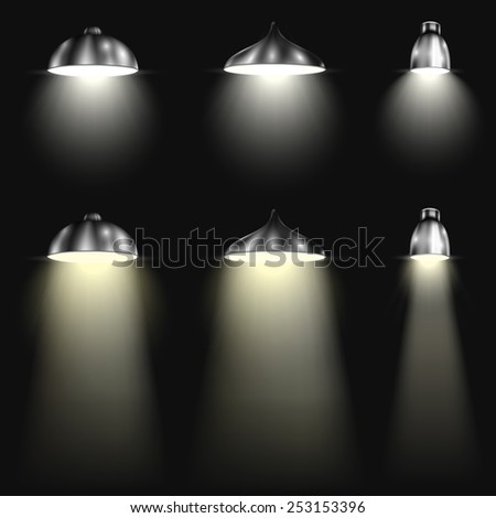 three types of spotlights with