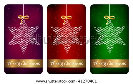 Three typographic Christmas labels