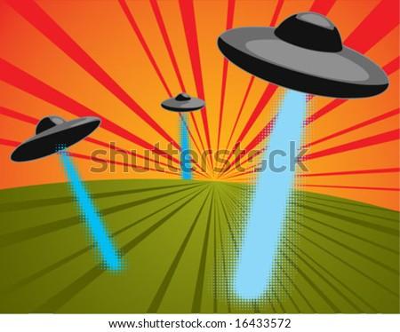 three ufos shooting light beams