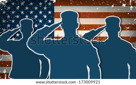 three us army soldiers saluting