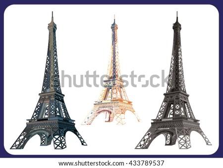 three variants of Eiffel tower ,