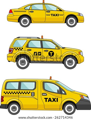 three variants of the taxi car
