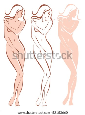 Three variations of beautiful nude woman silhouette
