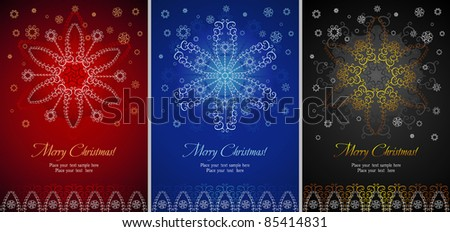 Three various color backgrounds with Christmas theme. Bright congratulatory cards with design of various snowflakes and a place for your information.