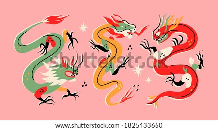 Three various Dragons. Mythological creatures. Zodiac sign. Chinese asian cartoon style. Hand drawn colored Vector illustration. Tattoo idea. Print templates. Every dragon is isolated on pink