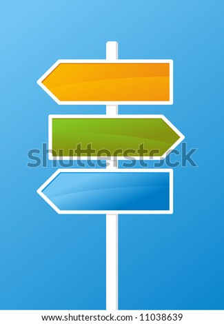 Three vector arrows on blue background