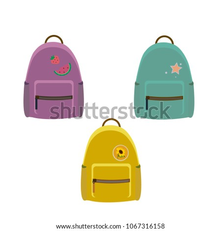 Three vector backpacks on a white background