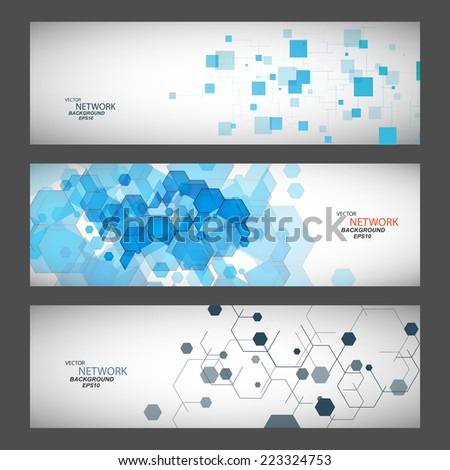 three vector banner with