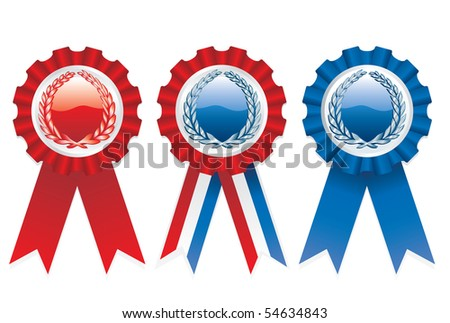 three vector blank patriotic ribbons
