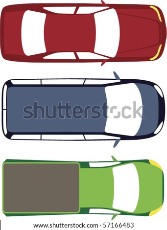 three vector cars top view
