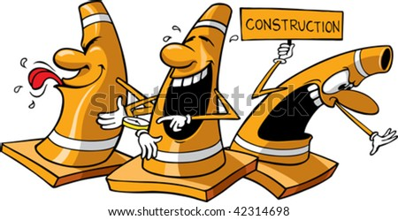 Three vector cartoon construction cones. All are on separate layers.