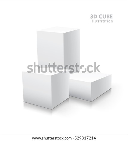 Three vector 3D cubes isolated on white background