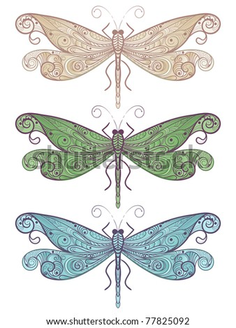 three vector dragonflies with unique pattern