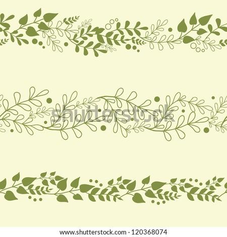 three vector green plants