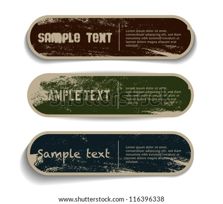 three vector grungy paper
