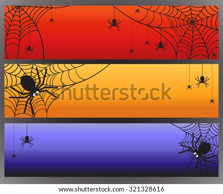 three vector halloween banners