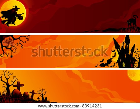 three vector halloween banners