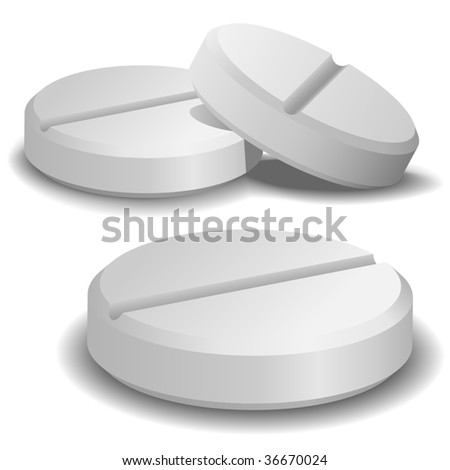 Three vector pills isolated on white background.