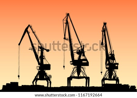 three vector portal cranes on