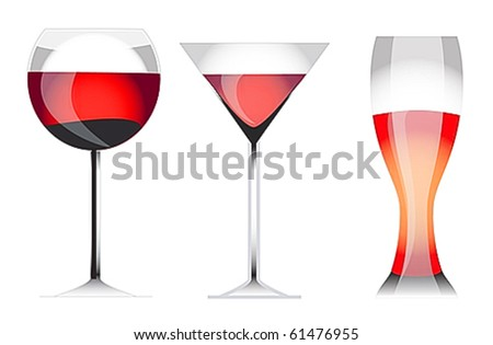 Three vectorial glasses of wine, martini, cocktail and beer with a liquid shades and reflections