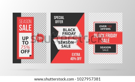 Three vertical Black Friday banners/posters in retro black and red style on gray background