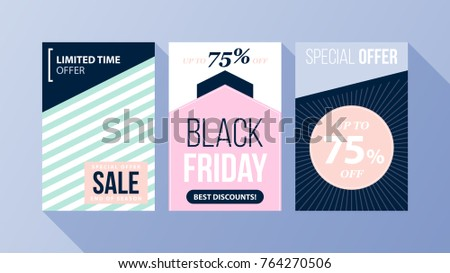 Three vertical Black Friday banners/posters with soft colors in flat style on blue background