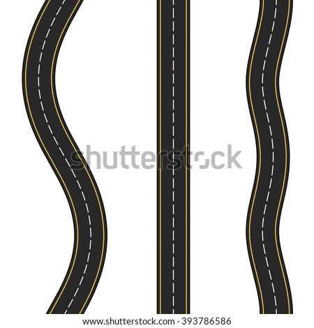 Three vertical seamless roads on white background, vector eps10 illustration