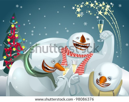 Three very funny snowmen celebrating Christmas with drinks.
