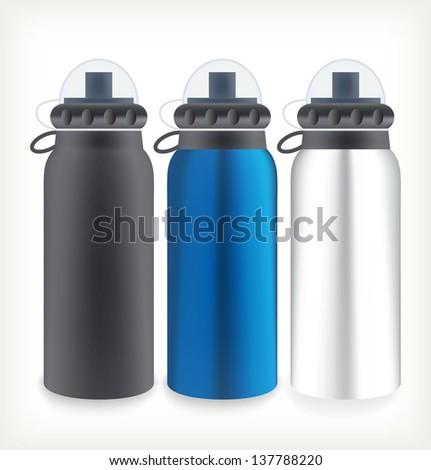Three water bottles for outdoor activities