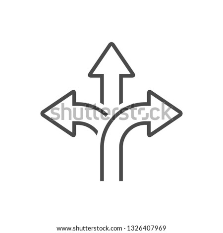 three-way direction arrow sign, road sign direction icon, vector illustration