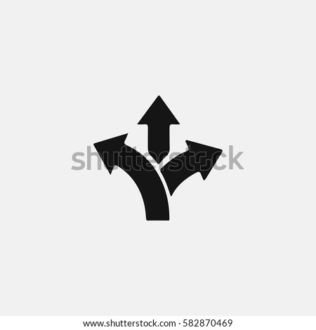 three-way direction arrow vector icon
