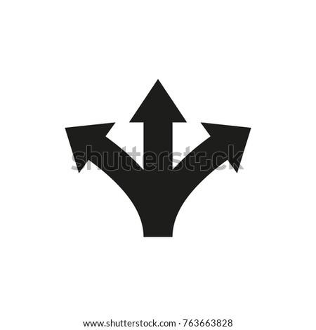 Three way direction arrows. Vector icon