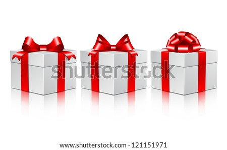 Three white gift boxes with a red bows. Vector illustration on white background