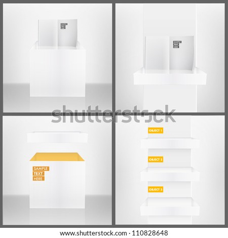 Three white shelves inside a house, isolated white book on a shelves, and white box in abstract room. Collection vector design.