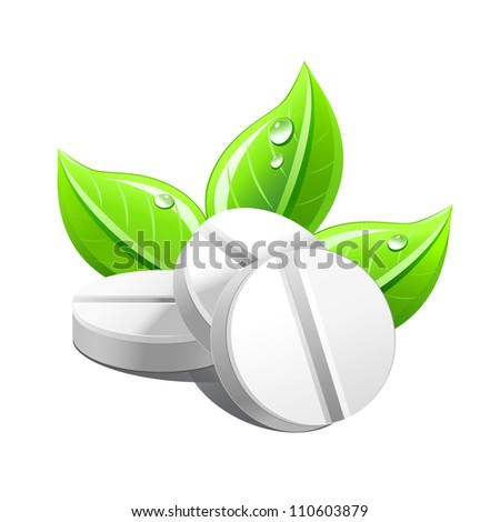 Three white tablets with green leafs .