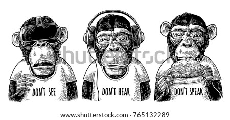 three wise dressed monkeys with