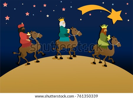Three wise men bring presents