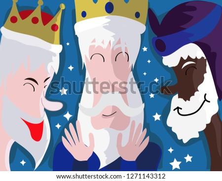 Three wise men. Caspar, Melchior and Balthazar. Three wise men,faces of the three wise men Vector. illustration. - Vector - Vector