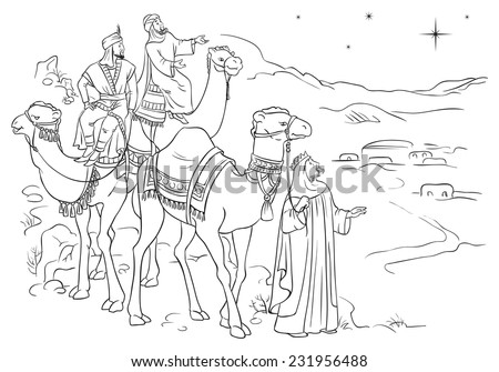 Three Wise Men Following The Star Of Bethlehem. Coloring ...