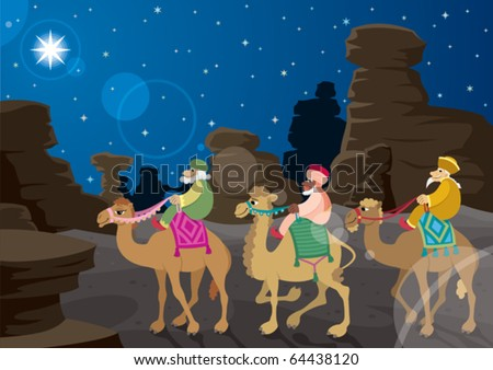 Three Wise Men: The three wise men on their camels, following the Star of Bethlehem across the desert. No transparency used. Basic (radial) gradient used for the sky. A4 proportions.