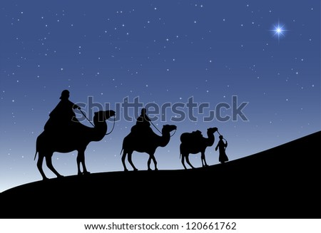 Three wise men with camels and a shining star of Bethlehem, illustration. - stock vector