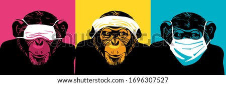 Three wise monkeys with medical face masks. Аllegory ignore problem and danger. Infection, Covid-19 Сток-фото ©