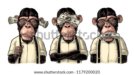 three wise monkeys with money