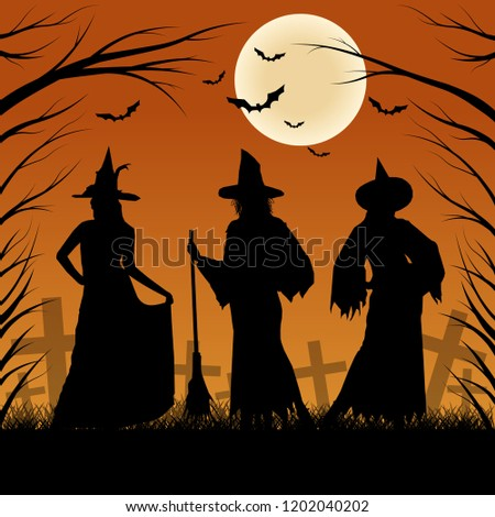 three witches on the background