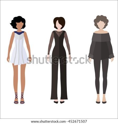 three women flat style icon